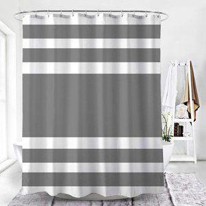 NWT-Fabric Shower Curtain w/Hooks-Gray Stripe